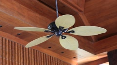 Ceiling fan in tropical home, indoors. Myanmar. Close up Stock Footage