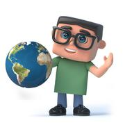 3d render of a boy wearing glasses holding a globe of the Earth Stock Illustration