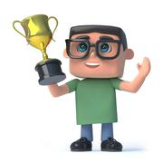 3d render of a boy wearing glasses holding a gold cup trophy high above his h - stock illustration