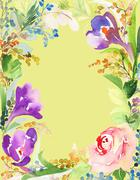 Greeting card with flowers - stock illustration