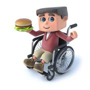 3d render of a boy in a wheelchair holding a beef burger - stock illustration
