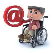 3d render of a boy in a wheelchair holding an email address symbol. - stock illustration