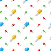 Colourful pills capsules on white, seamless pattern Stock Illustration