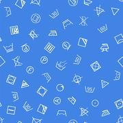 Laundry symbols on blue background seamless pattern - stock illustration