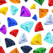 Different colourful gemstones, seamless pattern - stock illustration