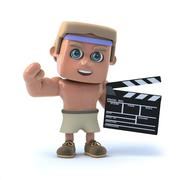 3d render of a bodybuilder with a clapperboard. Stock Illustration