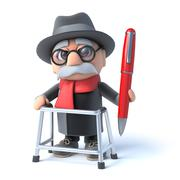 Stock Illustration of 3d render of an old man with walking frame holding a pen