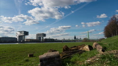 Cologne Skyline from Poller Wiesen Stock Footage