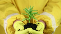 Man in yellow protective suit holds in hands soil and green young plant Stock Footage