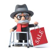 Stock Illustration of 3d render of an old man with walking frame holding up a Sale bag