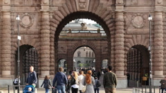 Time Lapse Zoom - People Walking through Historical Archway - Stockholm Sweden Stock Footage