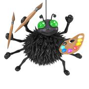 3d render of a spider hanging from a thread holding a paint brush and palette Stock Illustration