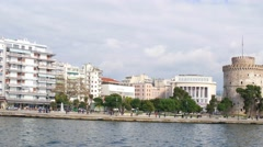 Panorama of city Thessaloniki. White tower Stock Footage