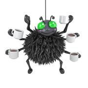 3d render of a spider with lots of cups of coffee - stock illustration