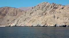 Sultanate of Oman, Musandam peninsula, Gulf of Oman, rocky coast Stock Footage