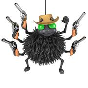 3d render of a spider dressed as a cowboy with pistols - stock illustration