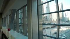 Travelator. View from windows on Dubai Marina, United Arab Emirates Stock Footage