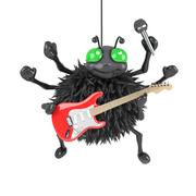 3d render of a spider playing an electric guitar. Stock Illustration
