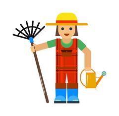 Gardener man worker with sprinkle and rake manual grass yard equipment vector Stock Illustration