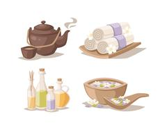Spa sketch decorative symbols set with bamboo towels aroma candles oils vector - stock illustration