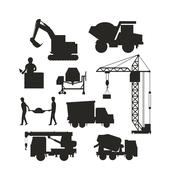 Set of heavy construction equipment silhouette machines icon building transport - stock illustration