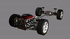 Isolated car chassis with engine. alpha matted Stock Footage