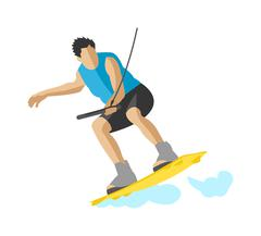 Man wakeboarding in action summer fun hobby outdoor water sport character vector - stock illustration
