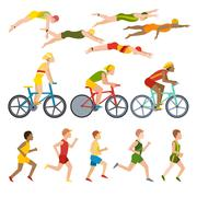 Triathlon athletes design stylized symbolizing competition race athlete man Stock Illustration