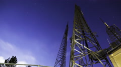 3axis MoCo Time Lapse of Broadcasting Radio Tower at Night -Long Shot- Stock Footage