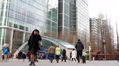 LONDON, UK -Commuters at Canary Wharf Station Stock Footage