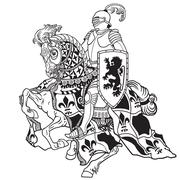knight black and white - stock illustration