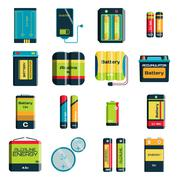 Group of different size color batteries electricity charge technology vector - stock illustration