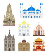 Stock Illustration of Set cities in middle famous buildings travel architecture landmark vector