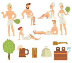 Young couple relaxing in spa health care concept bath people brushing vector - stock illustration