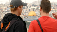 Tourists and Dome of the Rock Stock Footage