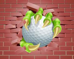 Claw with Golf Ball Breaking Through Brick Wall Stock Illustration