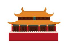 Beautiful china travel landmarks chinese temple vector - stock illustration