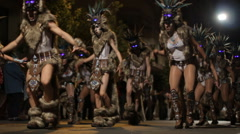 Carnival dancers, Participants  in the Carnival present their carnival costumes Stock Footage