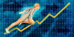 Caucasian Businesswoman Running with Chart Graph Background - stock illustration