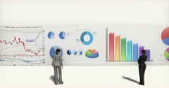 Stock Video Footage of 4k business team analyze finance pie charts & stock trend diagrams.