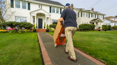 Careless Senior Delivery Man Stock Footage