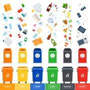 Stock Illustration of Trash cans with srted garbage