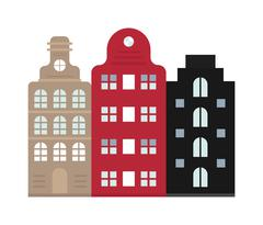Traditional old buildings Amsterdam house netherlands architecture traditional - stock illustration
