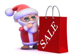 3d render of Santa Claus with a big shopping bag with Sale written on it - stock illustration