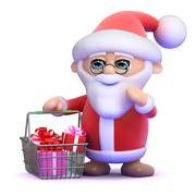 3d render of Santa Claus with a shopping basket full of presents Stock Illustration
