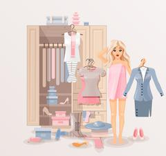 Girl with clothes closet - stock illustration