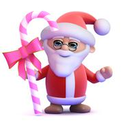 3d render of Santa Claus holding a stick of pink candy - stock illustration