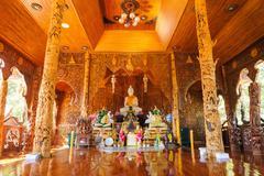 Beautiful temple made of teak wood. - stock photo