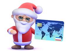 3d render of Santa Claus holding a debit card - stock illustration