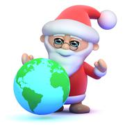 3d render of Santa Claus with a globe of the Earth - stock illustration